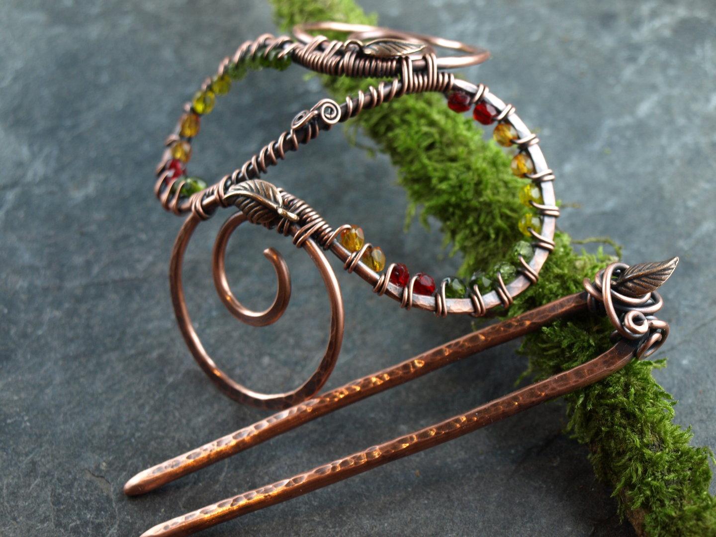 Haarspange,Buncage,Herbst,Kupfer - Individueller Schmuck und Haarschmuck