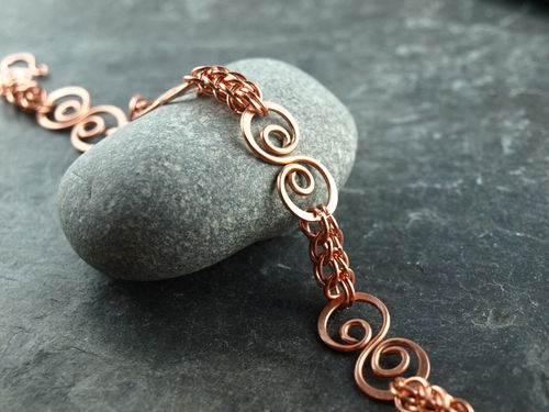 Armband chainmaille, Kupfer, Spirale